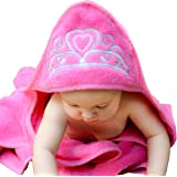 "Baby Princess Hooded Towel (Pink), 29"" x 29"", Plush and Absorbent Luxury Bath Towel! 600 GSM, *** Cotton"