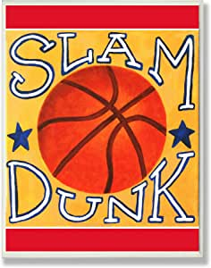The Kids Room by Stupell Slam Dunk Basketball on Yellow Rectangle Wall Plaque