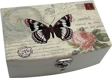 Forest & Tyed 首饰盒 w/美丽的蝴蝶和花朵,仿旧复古外观木制收纳盒,适用于戒指、手镯、项链,送给女士的*礼物 1 个蝴蝶