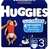 HUGGIES OverNites Diapers, Size 3, 80 ct, Overnight Diapers (Packaging May Vary)