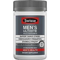 SWISSE Ultivite 男士优质日常复合维生素| 富含抗氧化剂和矿物质| 维生素A,维生素C,维生素D,生物素,钙,锌等| 50粒
