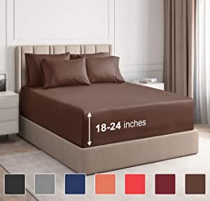 CGK Unlimited 超深口袋床单 - 7 件床单套装 - 分离式大号双人床床单 深口袋 - 超深床单 - 53.34 厘米深口袋 棕色 加州King size