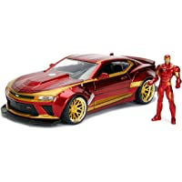 Jada 玩具 漫威钢铁侠和2016 Chevy Camaro压铸车,1:24比例车和2.75英寸/约6.99厘米 收藏金属小雕像