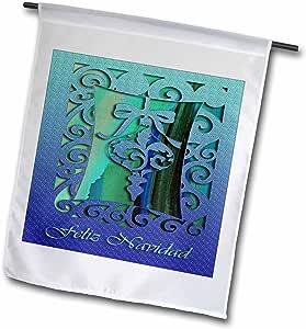 BEVERLY TURNER 圣诞节设计–圣诞快乐快乐圣诞节 IN Spanish 蓝色装饰品–旗帜 12 x 18 inch Garden Flag