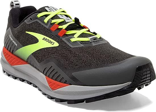 Brooks 男款 Cascadia 15 跑鞋, Black/Raven/Cherry Tomato, 10.5 UK Wide
