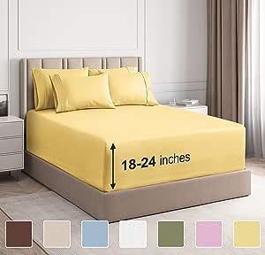 CGK Unlimited 超深口袋床单 - 7 件床单套装 - 分离式大号双人床床单 深口袋 - 超深床单 - 53.34 厘米深口袋 黄色 加州King size