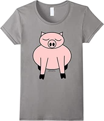 Sleeping Pig T Shirt  蓝灰色 Female Large