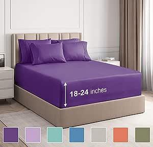 CGK Unlimited 超深口袋床单 - 7 件床单套装 - 分离式大号双人床床单 深口袋 - 超深床单 - 53.34 厘米深口袋 紫色 加州King size