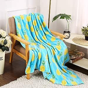 Noble House 装饰性夏季毛毯彩色沙发椅床毯 127 厘米 x 152.4 厘米 Pineapple Blanket