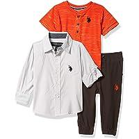 U.S. Polo Assn. 男宝宝裤子套装 Light Gray/Orange Multi 18 Months
