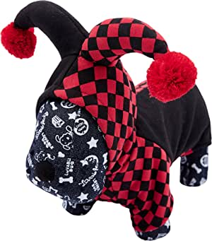 OSPet 趣味宠物连帽小丑服装适合小狗和猫咪万圣节派对角色扮演 Cos Clown XS