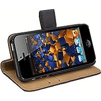 mumbi 翻盖皮质手机壳 iPhone SE 5 5S 手机套 黑色