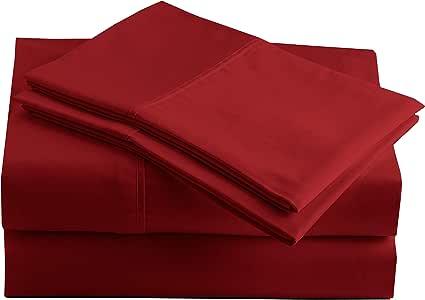 秘鲁比马 - 285 支 - * 秘鲁比马棉 - 密织棉布 - 床单套装 梅红色 两个 CO024156