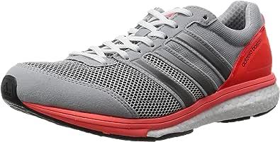 adidas 阿迪达斯 男 跑步鞋 adizero boston 5 m 浅青灰/一号黑/红荧光 43 (UK 9)