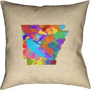 ArtVerse Katelyn Smith Arkansas 水彩 35.56 cm x 35.56 cm Pillow-涤纶斜纹双面印花带隐藏式拉链和嵌片