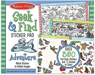Melissa & Doug 寻觅与寻觅贴纸板 - 冒险(400 多张贴纸,14 种多色可选),多色