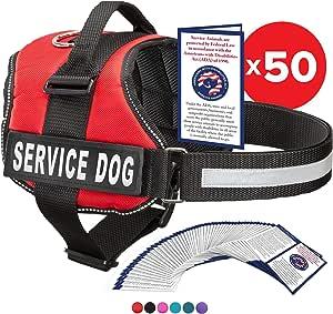 """工业小狗服务狗背带带带和手柄 – 提供 XXS 到 XXL 的 7 种尺寸 – 背心采用反光贴布和舒适网眼设计 亮红色 Large, Fits Girth 27-33.5"""""""