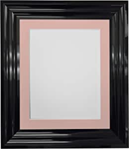 "FRAMES BY POST Firenza 高光泽黑色相框带支架 Pink Mount 7"" x 5"" Pic Size 5""x3.5"" FIRENZAHGLOSSBLACK-MOUNTS"