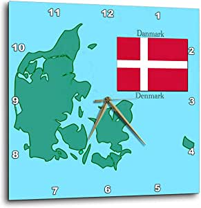 3dRose dpp_37583_2 The Map and Flag of Denmark with Denmark Printed in English and Danish-Wall Clock, 13 by 13-Inch