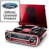 ION Audio Mustang LP USB音箱式唱片机/收音式复古电唱机,辅助输入/Vinyl-MP3 转换软件,粉丝必备,漆红色