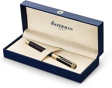 Waterman Perspective钢笔,带有23k镀金笔夹,精美笔尖与蓝色墨囊,配备礼品盒,亮黑色