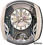精工时钟挂钟米奇米妮电波模拟布置6首旋律旋转装饰米奇老鼠迪士尼 Disney Time 时间浅粉色大理石花纹 fw563…