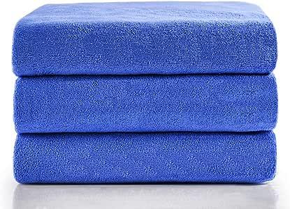 JML 超细纤维毛巾,超大浴巾套装(6 条装,68.58 x 139.70 厘米) - *吸水,快干和*,多用途用作浴巾,运动毛巾,瑜伽毛巾 3 Pack-blue 3 Packs JML-8Y3003