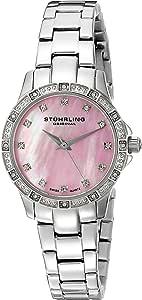 Stuhrling Original Women's 495.03 Vogue Audrey Cressida Quartz Pink Dial Stainless Steel Bracelet Watch