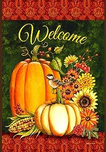 Toland Home Garden Welcome Gourds 28 x 40 Inch Decorative Fall Autumn Harvest Pumpkin Flower House Flag