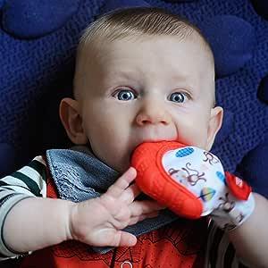 Nuby 快乐手舒缓出牙连指手套带 hygienic 旅行包 红色