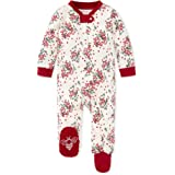Burt's Bees 婴儿中性款婴儿睡觉和玩耍,*一件式连身衣 PJ,前拉链连脚睡衣