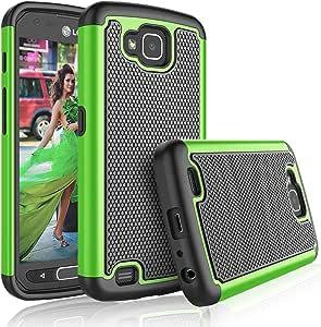 LG X Venture 手机壳,LG X Calibur 女孩手机壳,LG V9 手机壳,Tekcoo [Tmajor] 减震橡胶硅胶和塑料防刮保护套坚固硬质保护壳 绿色
