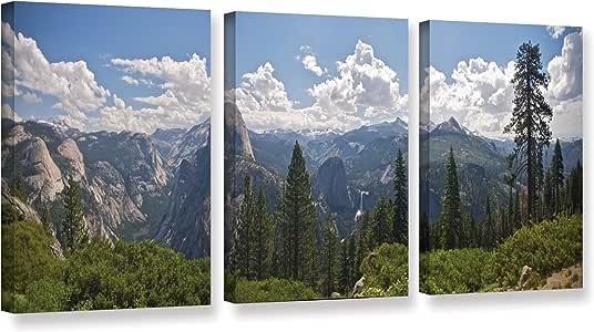 Dan Wilson's Yosemite-Half Dome And Nevada Falls, 3 Piece Gallery-Wrapped Canvas Set 18X36