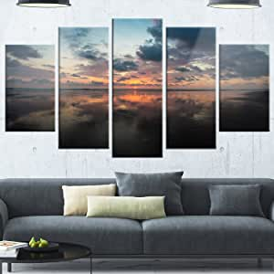 "Design Art Sunset Over A Field of Cereals 超大金属墙壁艺术风景 红色 60x32"" - 5 Panels Diamond Shape MT10824-373"