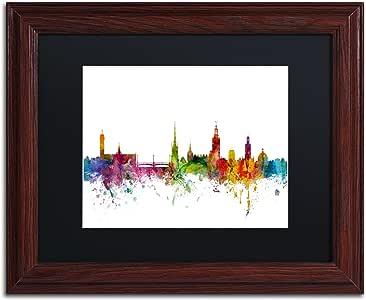 """Trademark Fine Art Stockholm Sweden Skyline by Michael Tompsett in Black Matte and Wood Framed Artwork, 11 by 14"""""""