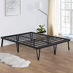 Olee Sleep 14 英寸重型钢板条平台发夹腿/无需弹簧/床垫底床床框架,单人床 XL,黑色