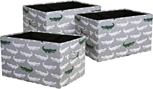 "Lush Decor Alligator Fabric Covered 3 Piece Collapsible Storage Box Set, 15"" x 13"" x 13"", Gray/Green"