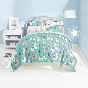 Dream Factory Llamas 超柔软超细纤维棉被套装,蓝色 蓝色 全部 2D871202BL
