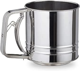 Relaxdays 10027709 单手面粉筛,大量填充,适用于面粉,糖粉,可,直径12.5厘米,XL烘焙筛,不锈钢,银色,18/8