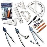 Mr. Pen- 15 件指南针套装带摆臂助推杆(15.24 厘米),学生几何套件,学校、分隔线、规则器、助推器、指南针、指南针、指南针和拖拉机、橡皮擦