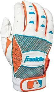 Franklin Sports Youth MLB Shok-Sorb Neo Series Batting Gloves, White/Neon Orange/Electric Blue, Small