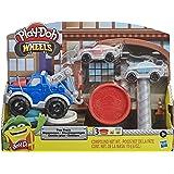 Play-Doh Wheels 拖车玩具,适合 3 岁以上的儿童,带 3 种Play-Doh,颜色