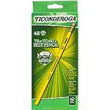 Ticonderoga 木头石墨铅笔,#2 HB 柔软,黄色,48 支装 (13922)