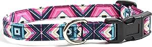 Ruff Roxy Geode 粉色,设计师棉质狗项圈,可调手工面料项圈 Pink, Blue, Fuschia XS