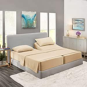 床单套装浅浅浅蓝色,亚马逊床上用品套装,4 件套, 米色霜 Split Queen