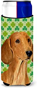 Dachshund St. Patrick's Day Shamrock Portrait Michelob Ultra Koozies for slim cans SS4418MUK 多色 Slim
