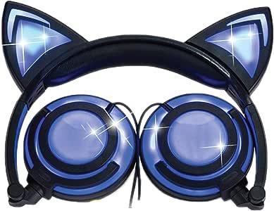 iPURR 猫耳儿童耳机可充电 LED 发光可折叠头戴式耳机适用于女孩男孩,兼容 iPad、儿童平板电脑和儿童可穿戴音乐设备(新粉色)LX-107