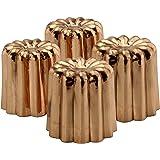 Copper Canelé 糕点模具(4 只装);5.08 厘米波尔多法国护理护膝蛋糕传统糕点烘焙模具带热导铜