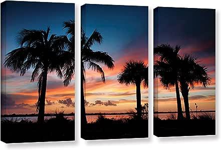 ArtWall 3 件 Steve Ainsworth's 热带日落 II 画廊装裱油画套装 36X54 36x54 0ain100c3654w