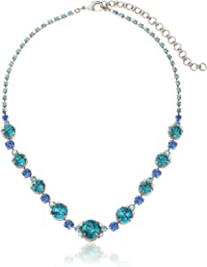 """Sorrelli """"Electric Blue"""" Classic Crystal Antique Silver-Tone Necklace, 20"""""""